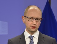 Arseniy Yatsenyuk at the podium