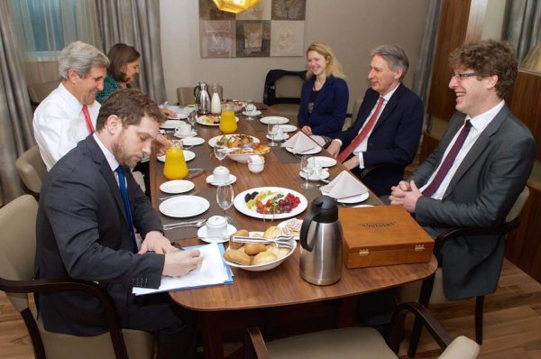 Soon after his arrival in Sofia, US secretary of state John Kerry had a working breakfast with his UK counterpart Philip Hammon who also had been in the Bulgarian capital for talks with top state and government officials.