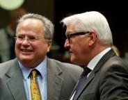 greek foreign minister nikolaos kotzias and german foreign minister frank-walter steinmeier