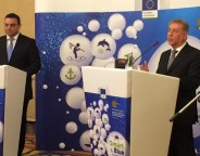 Bulgarian transport minister Ivailo Moskovski and EU environment Karmenu Vella-crop