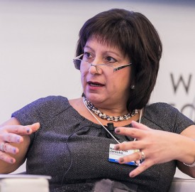 Ukrainian Finance Minister Natalie Jaresko speaks at the World Economic Forum in Davos in January 2015. Photo: World Economic Forum/flickr.com
