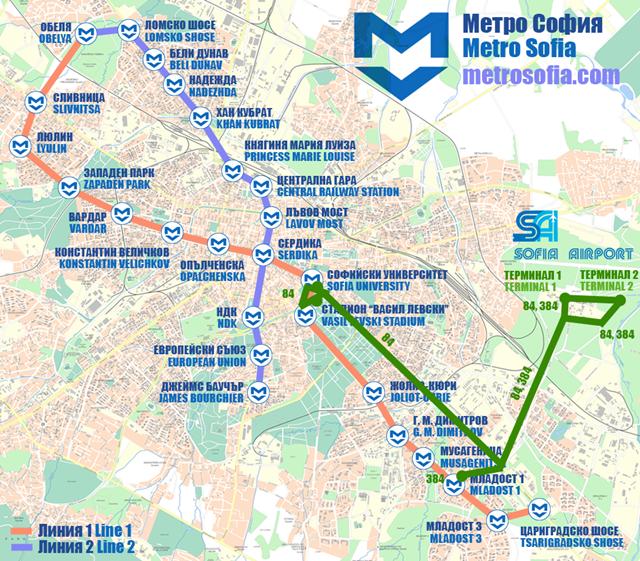 Sofia Subway Map.Sofia Metro Lines Airport The Sofia Globe