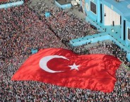 AKP rally istanbul may 2015 with turkish flag photo AKP party-crop