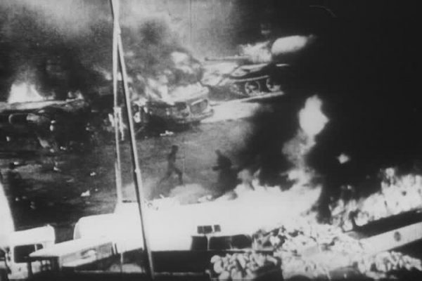 barricades and soviet tanks on fire