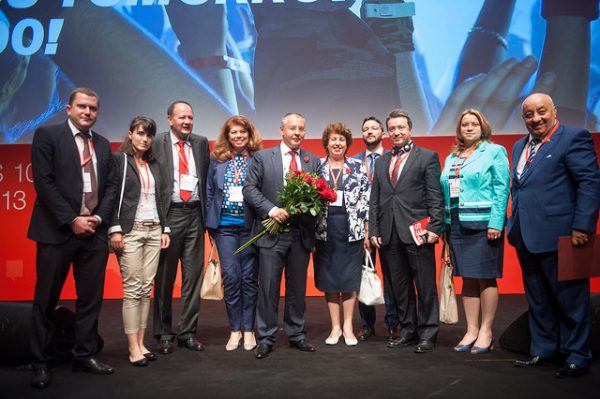 Stanishev and BSP members at the PES congress in Hungary, after his re-election as PES leader.