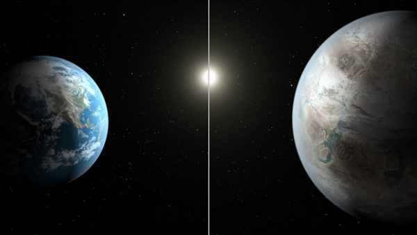 This artist's concept compares Earth (L) to the new planet, called Kepler-452b, which is about 60 percent larger in diameter. (NASA/JPL-Caltech/T. Pyle)
