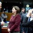 Bulgarian Interior Minister and Deputy PM Roumyana Buchvarova speaks to European commissioner for home affairs Dimitris Avramopoulos during a EU summit on migration in March 2015. Photo: EC audiovisual service