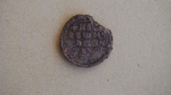 Lead seal of a Byzantine commander, found at Pliska in Bulgaria, 2015.
