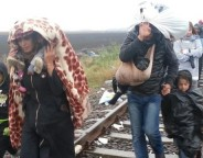 A constant steam of migrants arriving despite rain Thu in border town Roske Hungary from Serbia Photo A Tanzeem  VOA