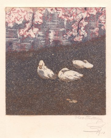 Geese at a Pond. 1910, colour aquatint, 9.5x8.5_ 26.5x15 cm