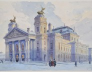 The National Thetre, Sofia. 1913, watercolour and pencil on paper. 28.3x38 cm