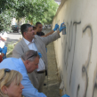 bulgarian Jewish organisation Shalom cleans hate speech off wall of school in Sofia