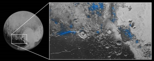 Water Ice on Pluto: Regions with exposed water ice are highlighted in blue in this composite image from New Horizons' Ralph instrument, combining visible imagery from the Multispectral Visible Imaging Camera (MVIC) with infrared spectroscopy from the Linear Etalon Imaging Spectral Array (LEISA). The strongest signatures of water ice occur along Virgil Fossa, just west of Elliot crater on the left side of the inset image, and also in Viking Terra near the top of the frame. A major outcrop also occurs in Baré Montes towards the right of the image, along with numerous much smaller outcrops, mostly associated with impact craters and valleys between mountains. The scene is approximately 280 miles (450 kilometers) across. Note that all surface feature names are informal. Photo: NASA/JHUAPL/SwRI
