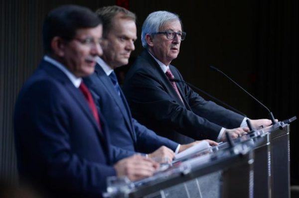 Ahmet Davutoglu Donald Tusk Jean-Claude Juncker