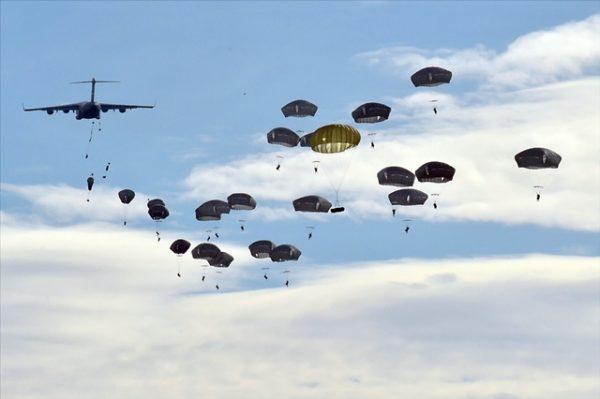 U.S. 82nd Airborne Division parachute airdrop