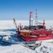 Russian Prirazlomnaya oil rig in the Pechora Sea operated by Gazprom Neft Photo Krichevsky