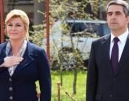 Croatian president Kolinda Grabar-Kitarovic and Bulgarian President Rossen Plevneliev