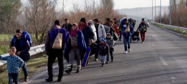 Migrants trudge toward a makeshift refugee camp in the northern Greek border station of Idomeni photo Jamie Dettmer VOA