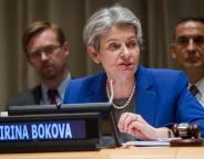 General Assembly Seventieth session Informal Dialogues with Candidates for the Position of Secretary-General: Ms. Irina Bokova  Panel L-R  Ms. Irina Bokova (Bulgaria), Director-General of the United Nations Educational, Scientific and Cultural Organization (UNESCO) Mr. Mogens Lykketoft, President of the seventieth session of the General Assembly. Ms. Catherine Pollard, Under Secretary-General for General Assembly and Conference Management.
