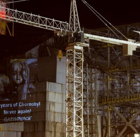 "Greenpeace marked the 30th anniversary of the Chernobyl nuclear disaster by projecting messages in support of survivors onto the sarcophagus of the damaged reactor. The projection shows portraits of Chernobyl survivors (photos made by Robert Knoth) with captions that read ""30 years after Chernobyl: never again"", ""Chernobyl: endless suffering"" and ""Stop nuclear power"" in various languages."