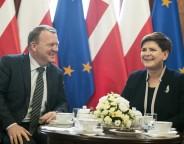 Danish PM Rasmussen and Polish PM Beata Szydlo