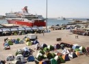 Piraeus is Athen's main port, and in recent months has been home to more than 4000 refugees photo J Owens VOA