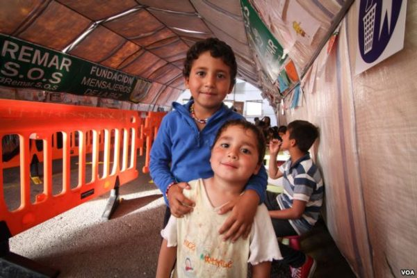 Children at a tent set up by Spanish NGO Remar S.O.S., Athens, Greece. Photo: J Owens/VOA