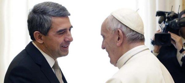 Bulgarian President Rossen Plevneliev and Pope Francis
