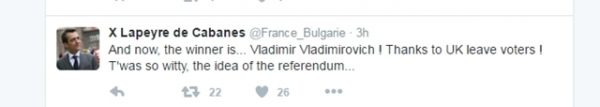 French ambassador Brexit reaction Twitter