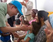 United Nations Secretary-General Ban Ki-moon visits the Kara Tepe refugee camp on the Greek island of Lesbos on 18 June 2016 UN Photo Rick Bajornas