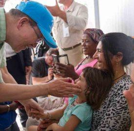 United Nations Secretary-General Ban Ki-moon visits the Kara Tepe refugee camp on the Greek island of Lesbos on 18 June 2016 UN Photo Rick Bajornas