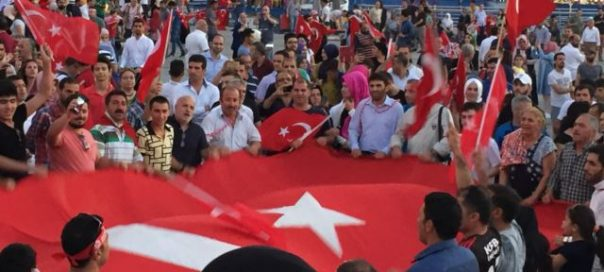 Supporters of Turkish President Recep Tayyip Erdogan have held nightly rallies since Friday's failed coup photo L Ramirez VOA