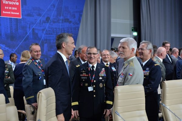 NATO Secretary General Jens Stoltenberg with General Curtis Scaparrotti (Supreme Allied Commander Europe), General Petr Pavel (Chairman of the NATO Military Committee) and General Denis Mercier (Supreme Allied Commander Transformation)