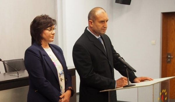 Bulgarian Socialist Party leader kornelia Ninova with Radev after the former air force commander was named the BSP's presidential candidate on August 17.