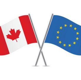 European Union and Canadian flags. Vector illustration.