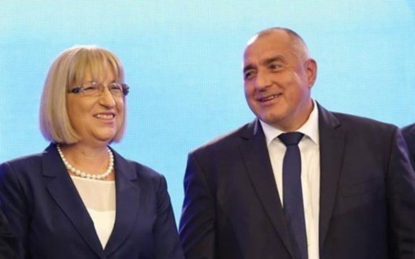 GERB presidential candidate Tsetska Tsacheva with Prime Minister and GERB leader Boiko Borissov.