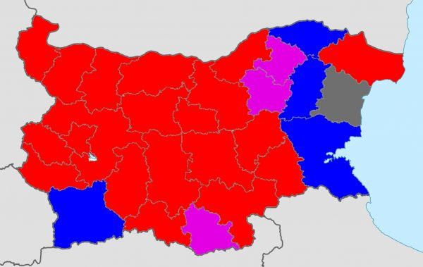 Preliminary results for Bulgaria's 2016 presidential elections. Districts won by Radev are in red, Tsacheva are in blue and Oresharski in purple. Mareshki, who is from Varna, won his home district, which is shown in grey. For comparison to the 2014 parliamentary elections in Bulgaria, click here.)