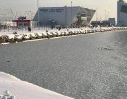 Bourgas Bulgaria frozen sea